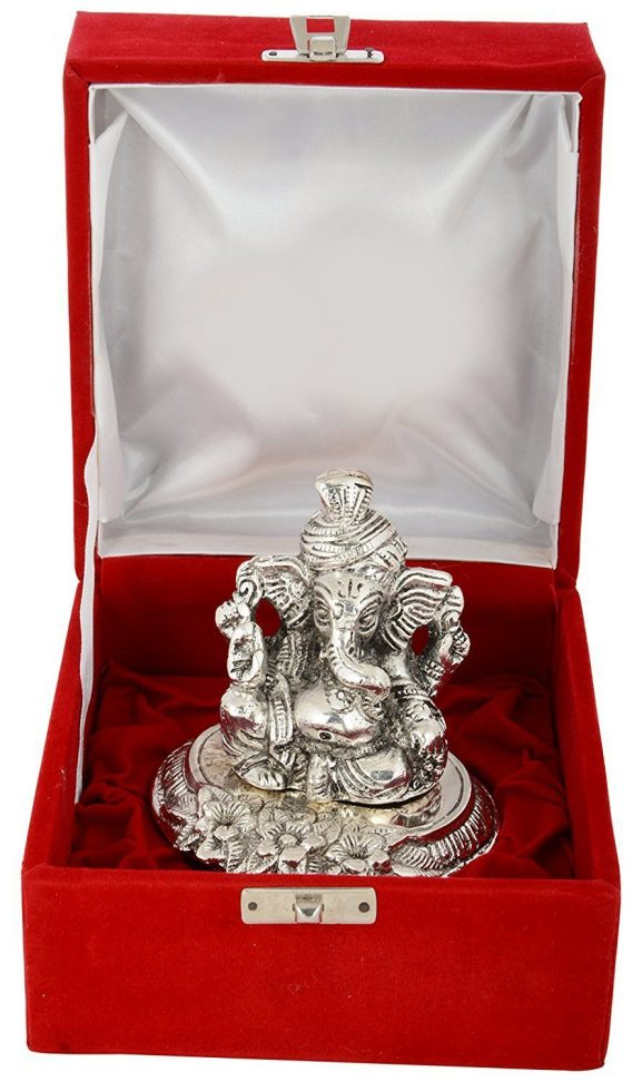 MSA Antique 999 Silver Plated Traditional Pagdi Ganesha With Velvet Box