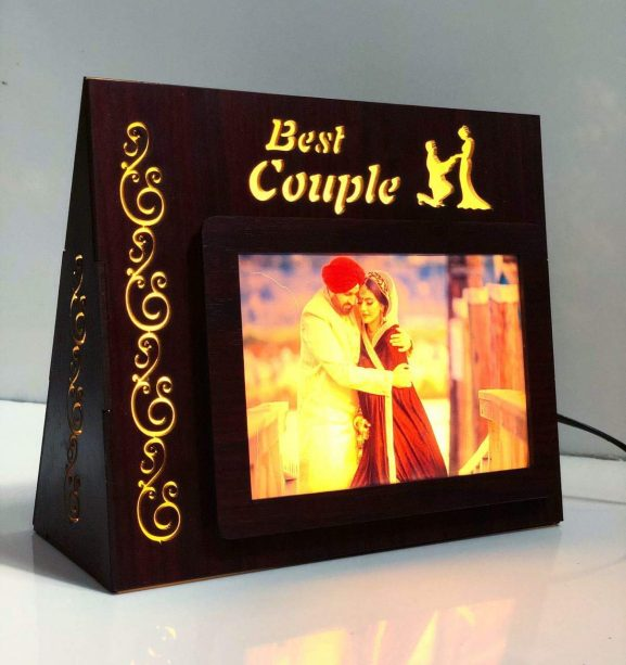 PRECIOUS GIFTS Wooden LED Photo Personalized Frames for Birthday Anniversary and Couple