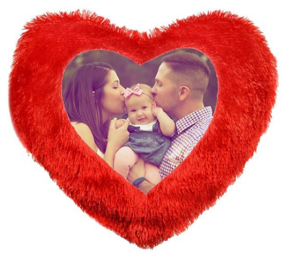 Prabha Graphics Heart Shape Fur Photo Cushion: Marriage Anniversary Gift For Couple