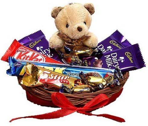 SFU E Com Chocolate with Cute Teddy Hamper: Marriage Anniversary Gift For Couple