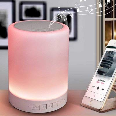 SYL PLUS Touch Lamp, Bedside Lamp with Bluetooth Speaker, Night Light with Dimmable Warm White Light & Color Changing Lamp, Gifts for Women Kids Men
