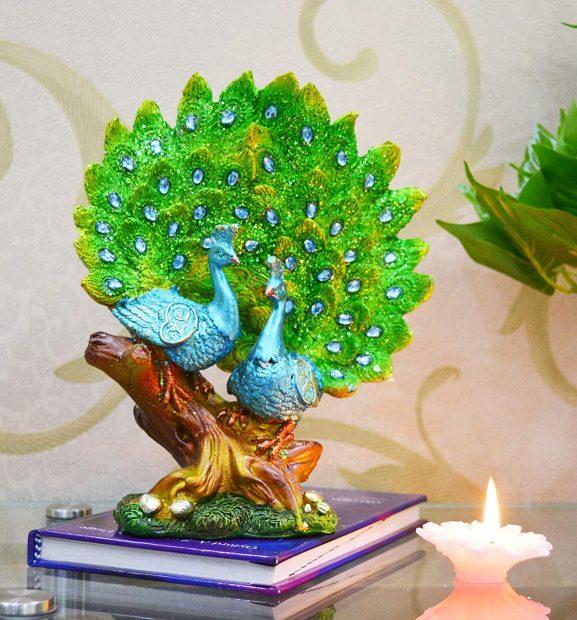 Saubhagya Global Barhi Peacock Decoration Showpiece 20cm for Birthday, Diwali, Year, House Warming, Anniversary, Home Decor Etc.