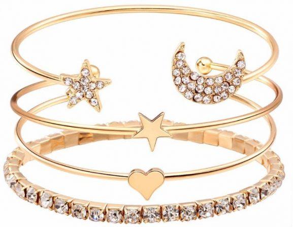 Shining Diva Fashion Gold-plated Charm Bracelet: Birthday Gift For Girls