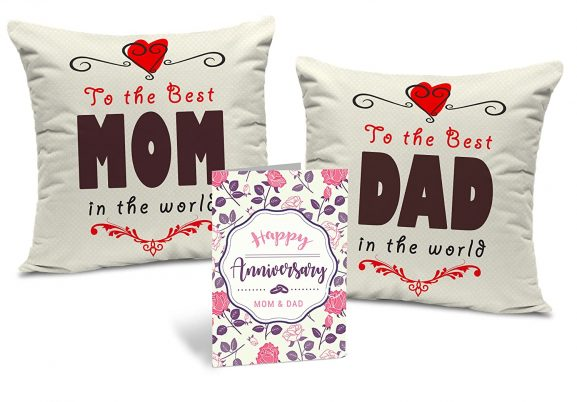 TIED RIBBONS from Son to Fathers Day Gift for Father Printed Cushion with Free Filler and Greeting Card