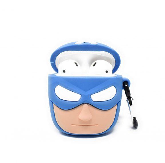 TKM- Wireless Airpods Cute Minions Silicone Protective Cases (Batman Blue)