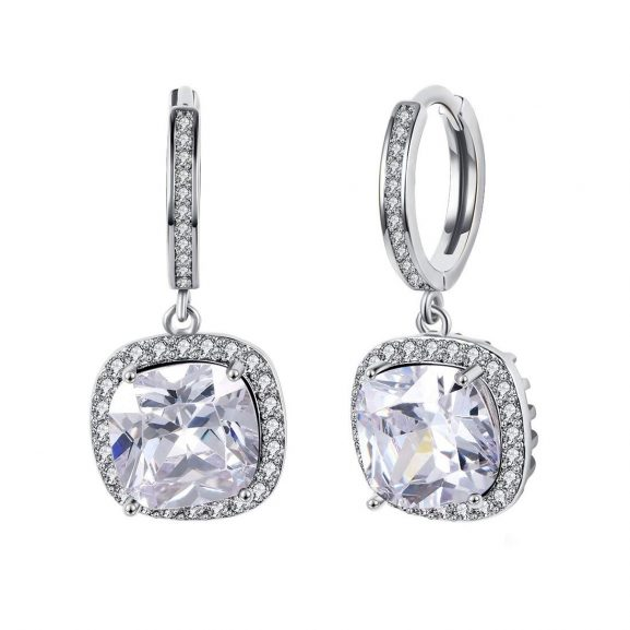 Yellow Chimes A5 Grade White Crystal Platinum Plated Dangler Earrings