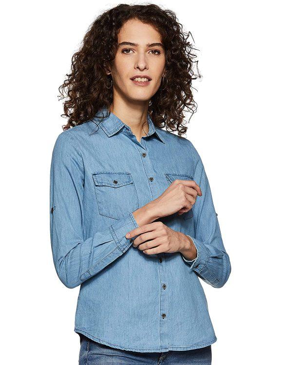 Amazon Brand - Inkast Denim Co. Women's Solid Slim Fit Full Sleeve Shirt