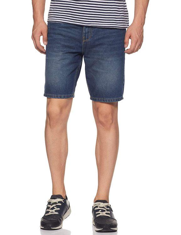 Amazon Brand - Symbol Men's Relaxed Regular Fit Cotton Denim Shorts