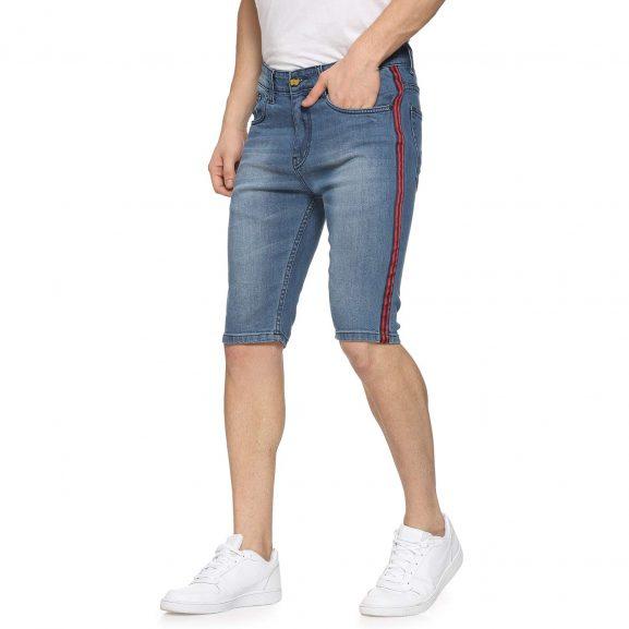 Campus Sutra Men Side Striped Denim Shorts