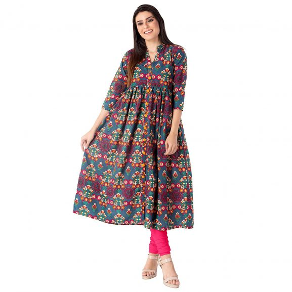 M&D Women's Cotton A-line Kurti