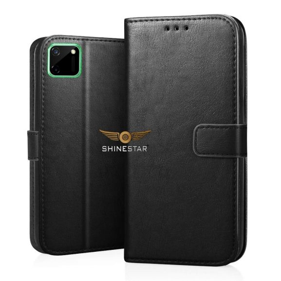 SHINESTAR Realme C11 Flip Case PU Leather Flip Cover Wallet Case with TPU Silicone Case Cover for Realme C11