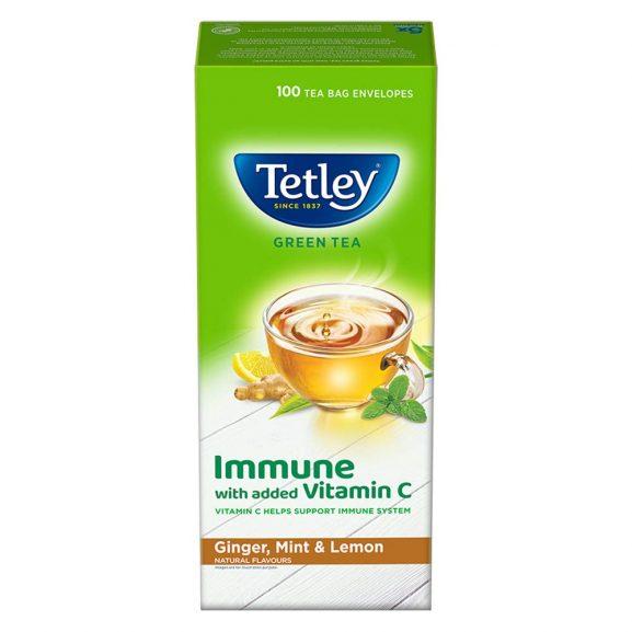 Tetley Green Tea Immune with Added Vitamin C Ginger Mint & Lemon